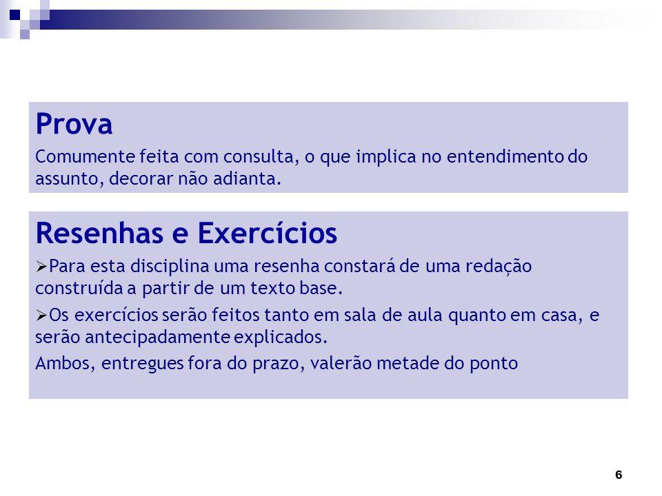 Prova Resenhas e Exercícios