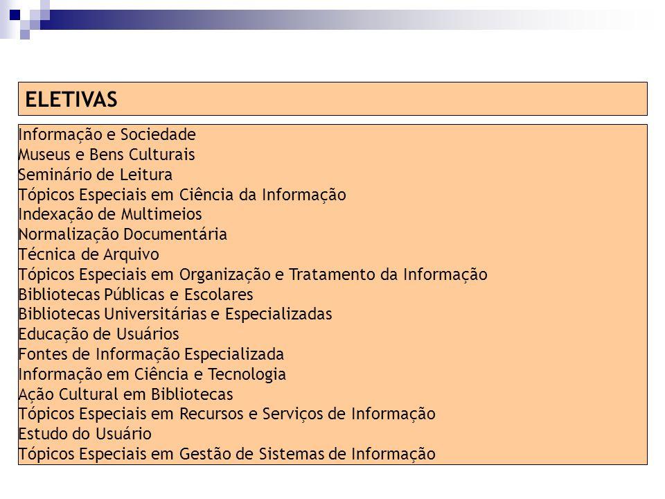 ELETIVAS Informação e Sociedade Museus e Bens Culturais