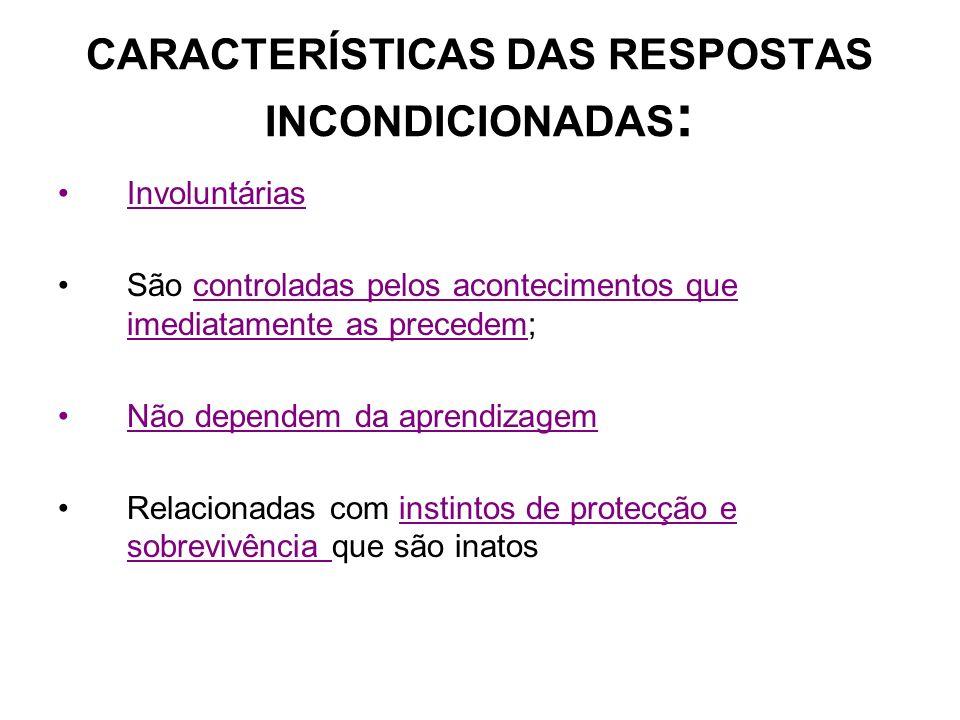 CARACTERÍSTICAS DAS RESPOSTAS INCONDICIONADAS: