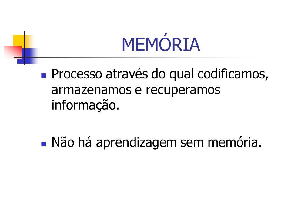 MEMÓRIA Processo através do qual codificamos, armazenamos e recuperamos informação.