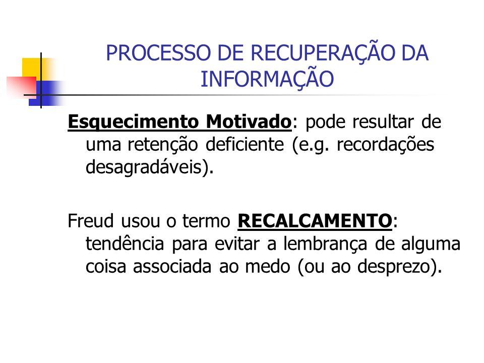 PROCESSO DE RECUPERAÇÃO DA INFORMAÇÃO