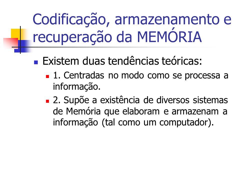 Codificação, armazenamento e recuperação da MEMÓRIA