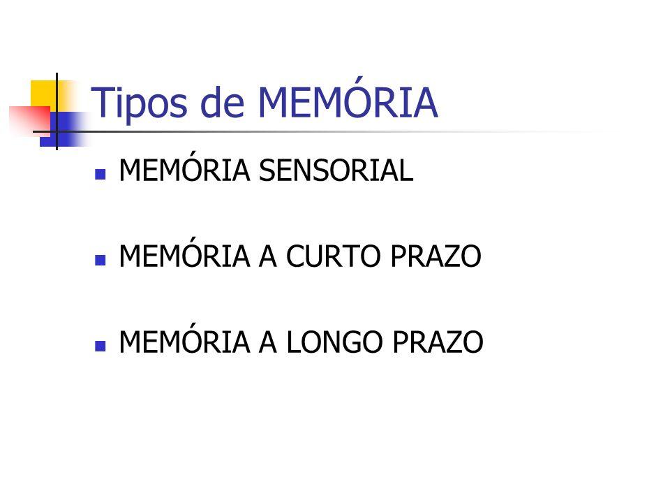 Tipos de MEMÓRIA MEMÓRIA SENSORIAL MEMÓRIA A CURTO PRAZO