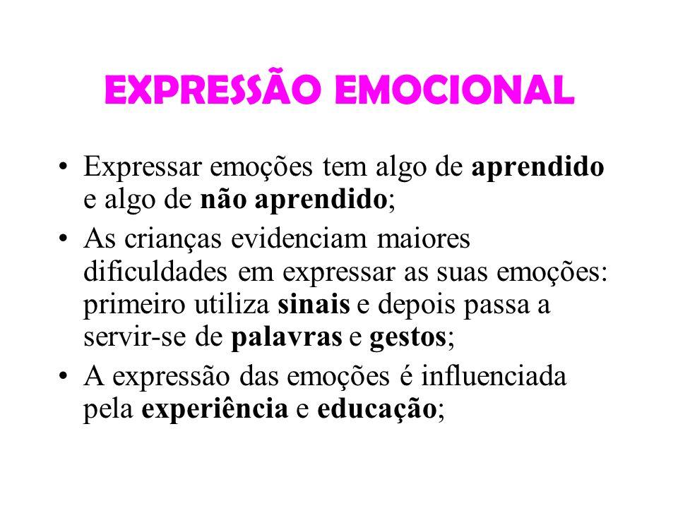 EXPRESSÃO EMOCIONAL Expressar emoções tem algo de aprendido e algo de não aprendido;
