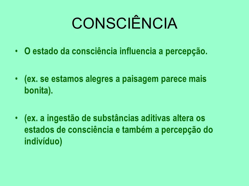 CONSCIÊNCIA O estado da consciência influencia a percepção.