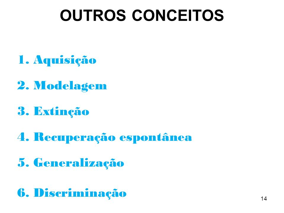 OUTROS CONCEITOS 1. Aquisição 2. Modelagem 3. Extinção