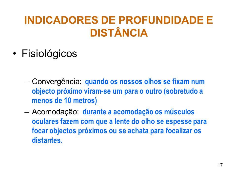 INDICADORES DE PROFUNDIDADE E DISTÂNCIA