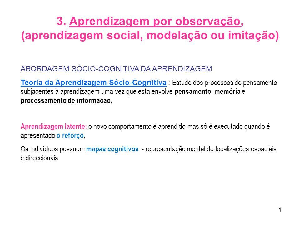 3. Aprendizagem por observação, (aprendizagem social, modelação ou imitação)