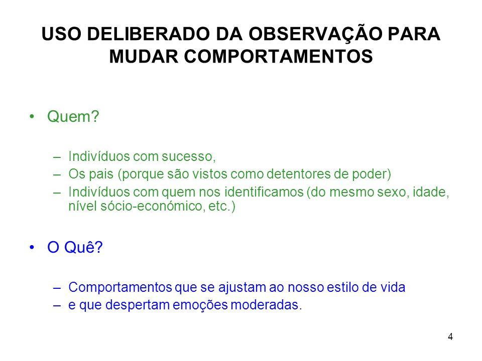 USO DELIBERADO DA OBSERVAÇÃO PARA MUDAR COMPORTAMENTOS