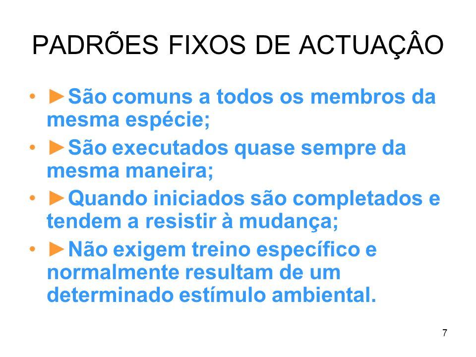 PADRÕES FIXOS DE ACTUAÇÂO