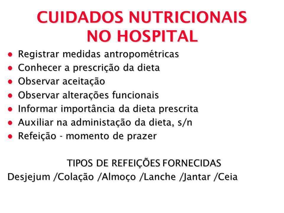 CUIDADOS NUTRICIONAIS NO HOSPITAL