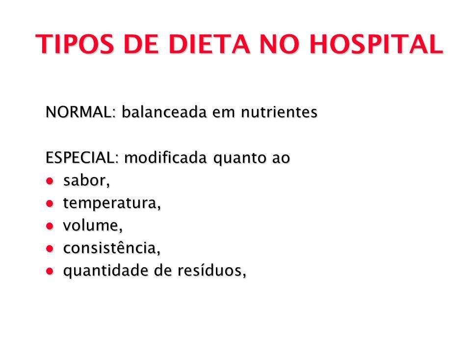 TIPOS DE DIETA NO HOSPITAL