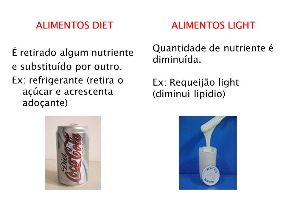 ALIMENTOS DIET É retirado algum nutriente. e substituído por outro. Ex: refrigerante (retira o açúcar e acrescenta adoçante)