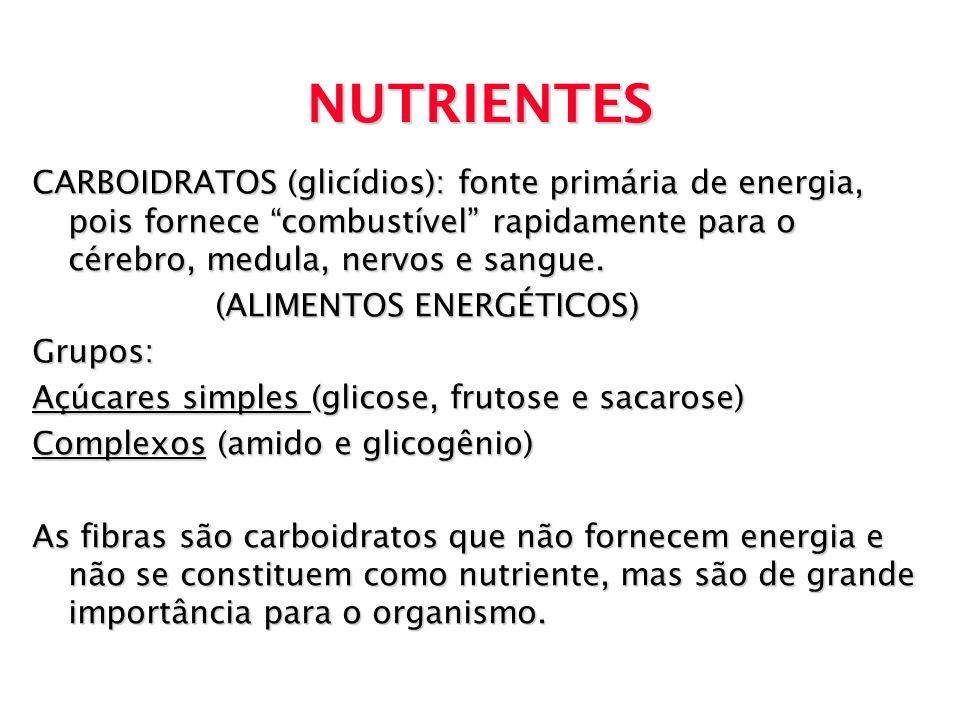 NUTRIENTES CARBOIDRATOS (glicídios): fonte primária de energia, pois fornece combustível rapidamente para o cérebro, medula, nervos e sangue.