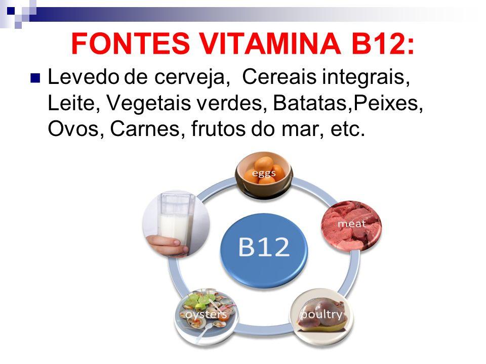 FONTES VITAMINA B12:Levedo de cerveja, Cereais integrais, Leite, Vegetais verdes, Batatas,Peixes, Ovos, Carnes, frutos do mar, etc.