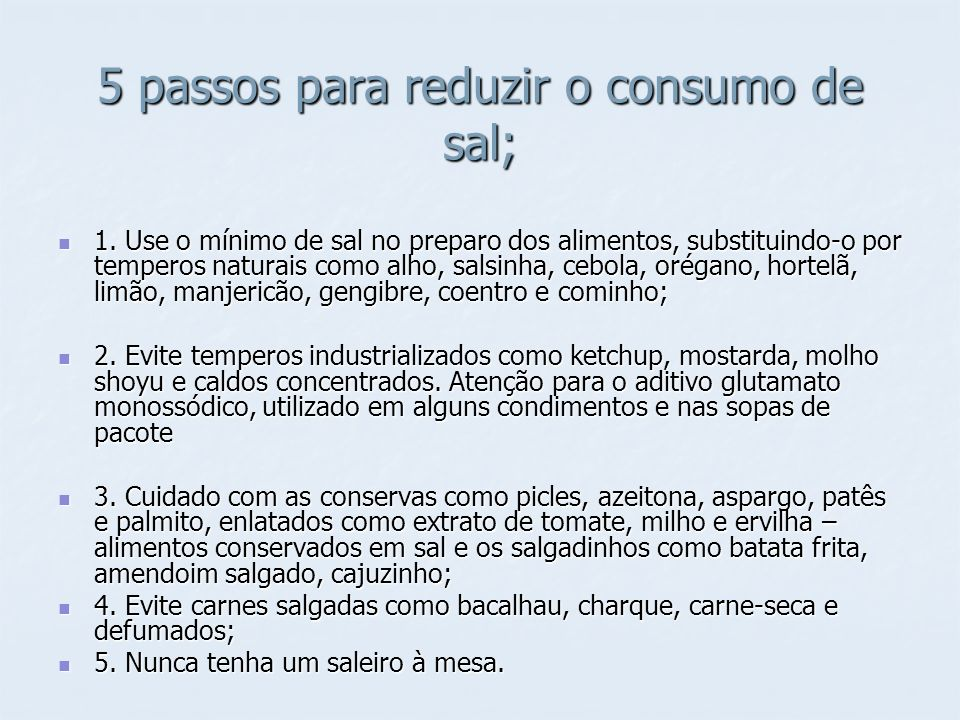 5 passos para reduzir o consumo de sal;