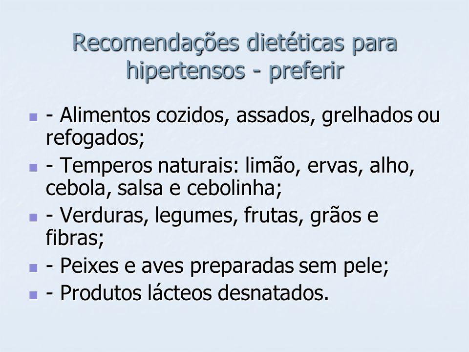 Recomendações dietéticas para hipertensos - preferir