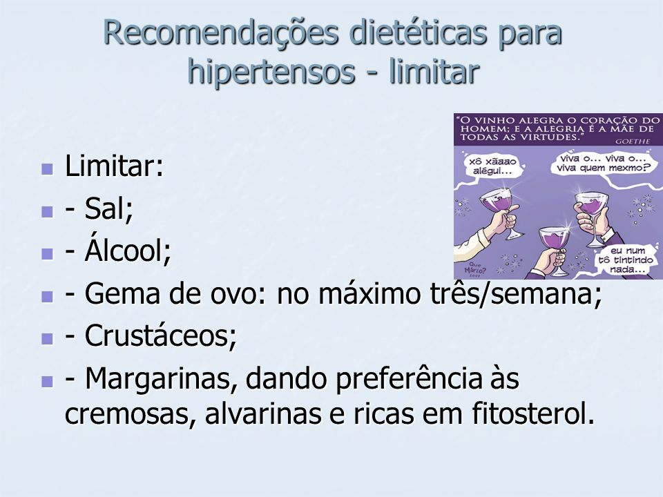 Recomendações dietéticas para hipertensos - limitar