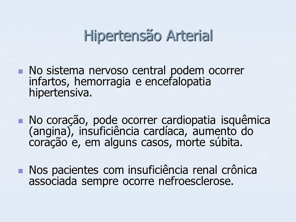 Hipertensão ArterialNo sistema nervoso central podem ocorrer infartos, hemorragia e encefalopatia hipertensiva.