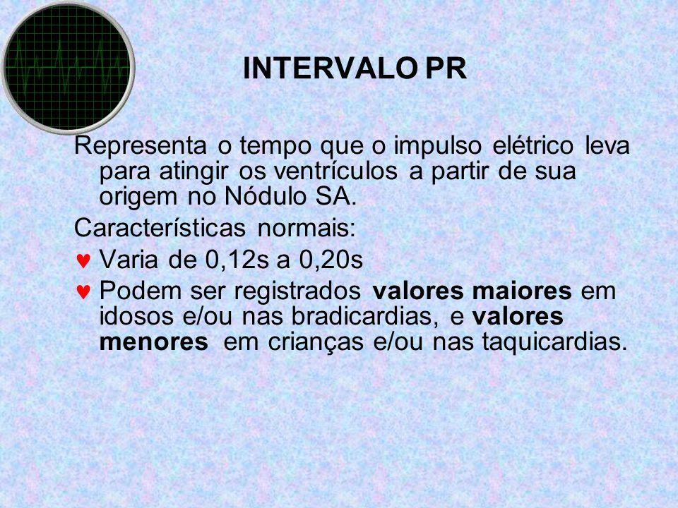 INTERVALO PR Representa o tempo que o impulso elétrico leva para atingir os ventrículos a partir de sua origem no Nódulo SA.