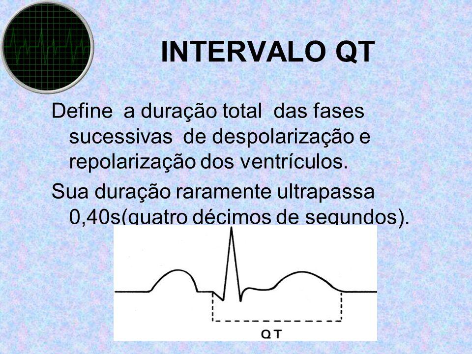 INTERVALO QT Define a duração total das fases sucessivas de despolarização e repolarização dos ventrículos.