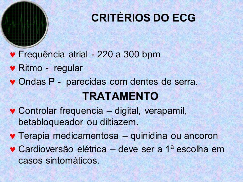 CRITÉRIOS DO ECG TRATAMENTO