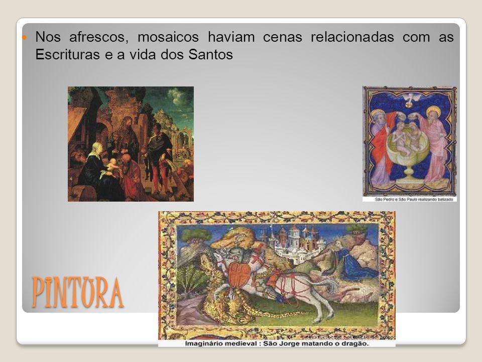 Nos afrescos, mosaicos haviam cenas relacionadas com as Escrituras e a vida dos Santos