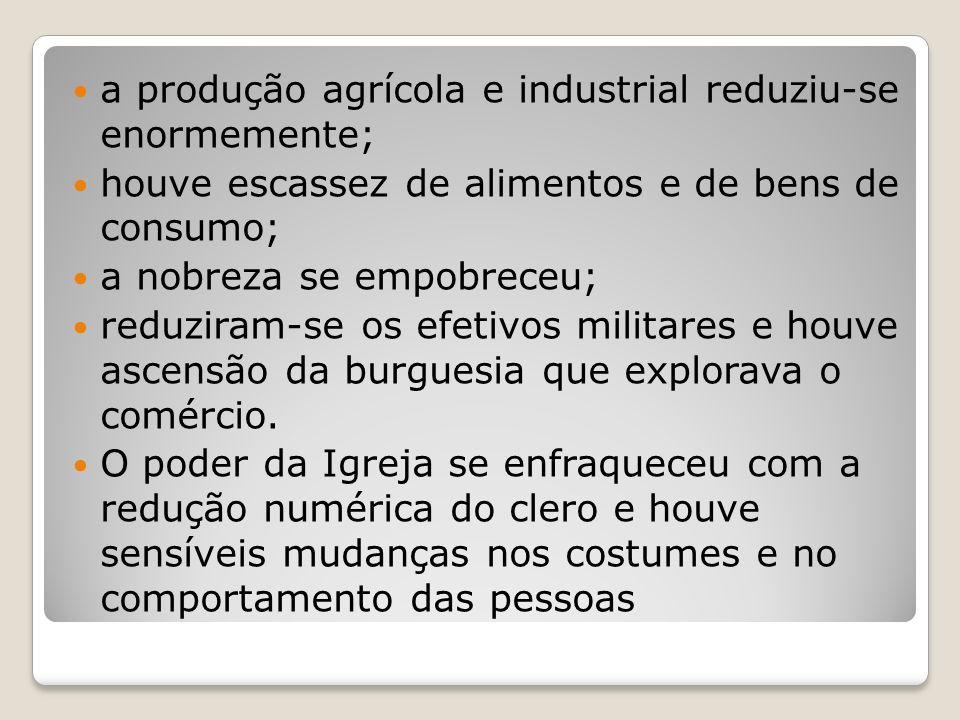 a produção agrícola e industrial reduziu-se enormemente;