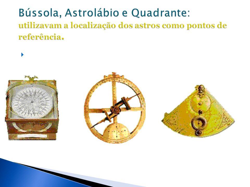 Bússola, Astrolábio e Quadrante: utilizavam a localização dos astros como pontos de referência.