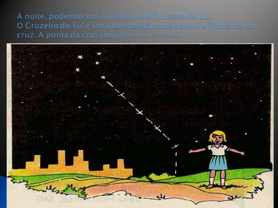 A noite, podemos nos orientar pelo Cruzeiro do Sul