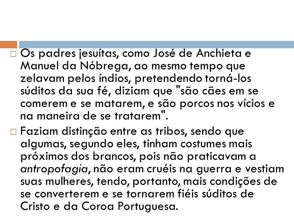 Os padres jesuítas, como José de Anchieta e Manuel da Nóbrega, ao mesmo tempo que zelavam pelos índios, pretendendo torná-los súditos da sua fé, diziam que são cães em se comerem e se matarem, e são porcos nos vícios e na maneira de se tratarem .