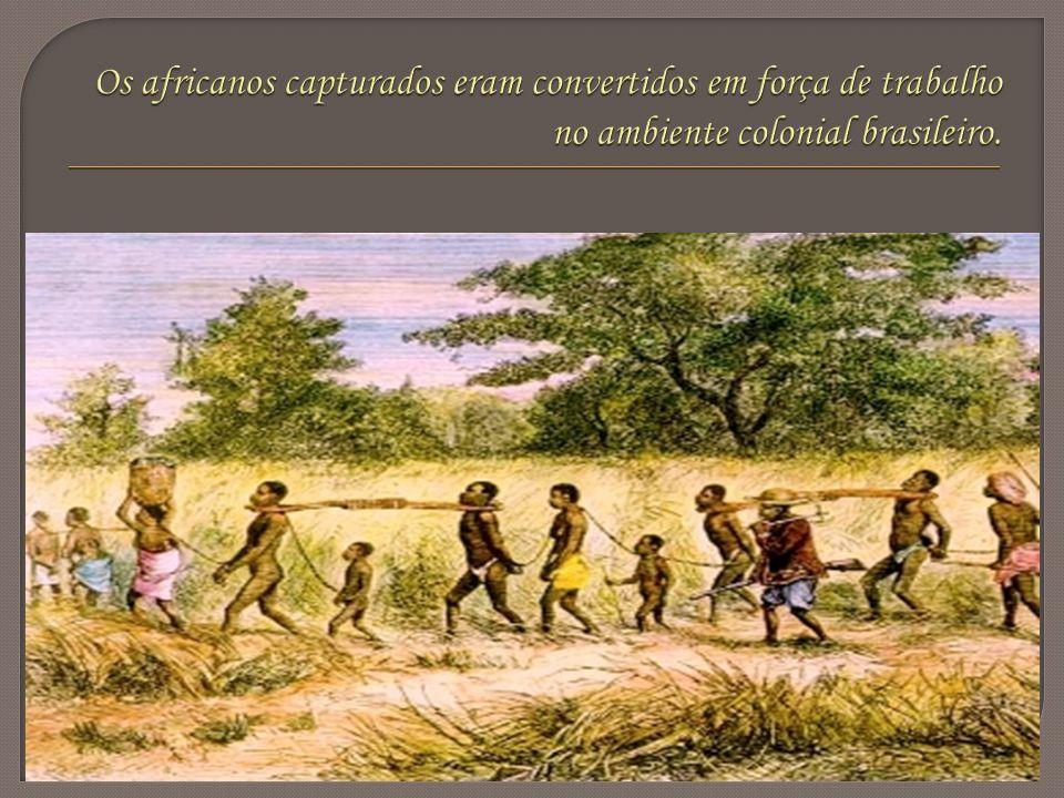 Os africanos capturados eram convertidos em força de trabalho no ambiente colonial brasileiro.