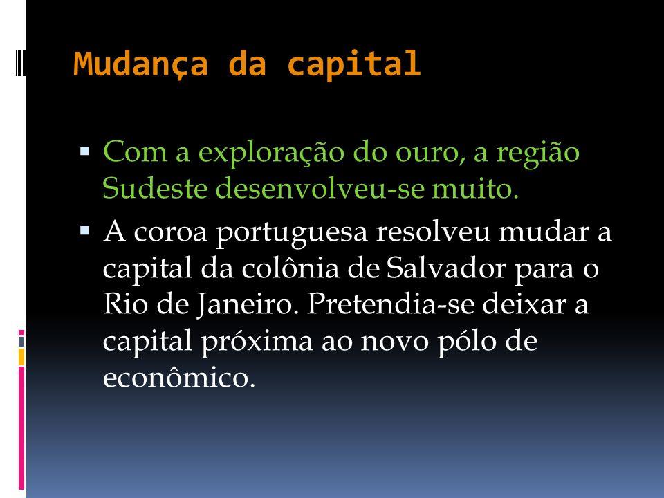 Mudança da capital Com a exploração do ouro, a região Sudeste desenvolveu-se muito.
