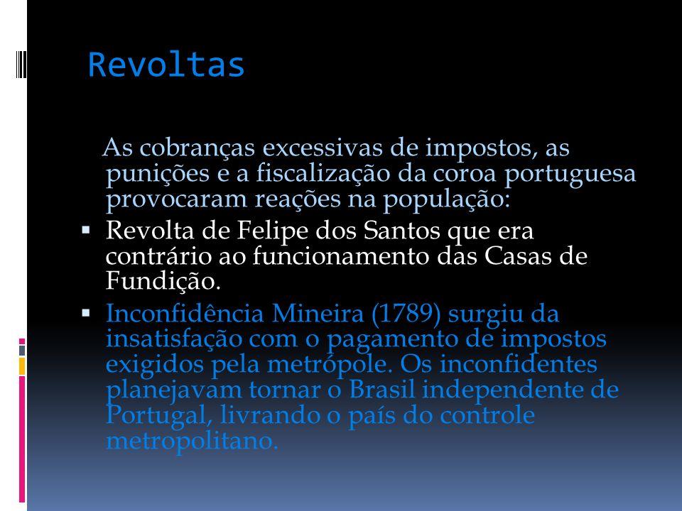 Revoltas As cobranças excessivas de impostos, as punições e a fiscalização da coroa portuguesa provocaram reações na população: