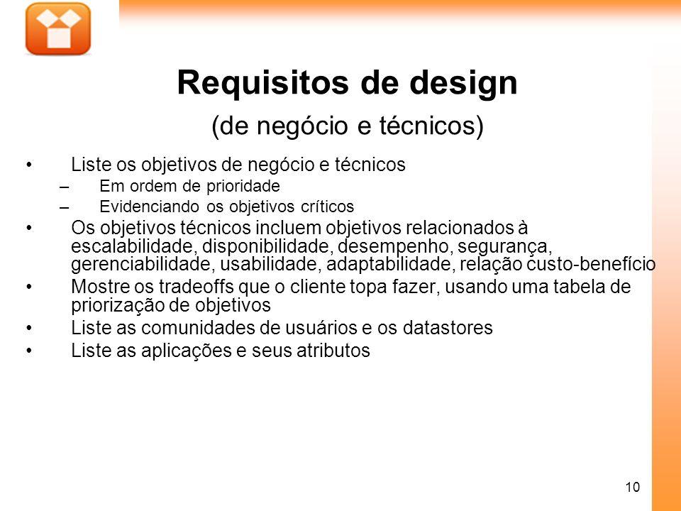 Requisitos de design (de negócio e técnicos)