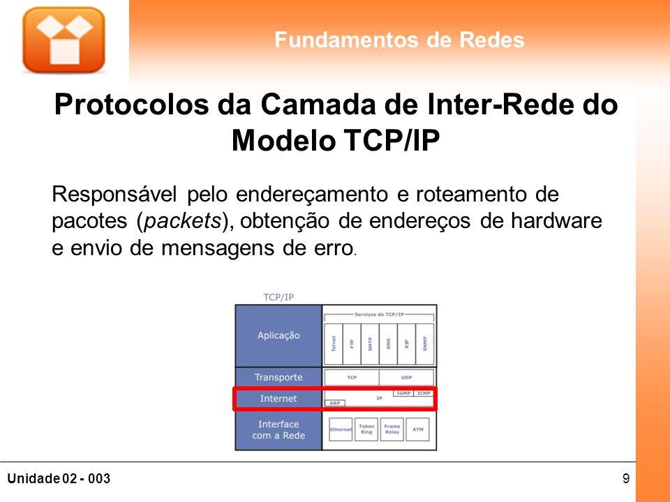 Protocolos da Camada de Inter-Rede do Modelo TCP/IP