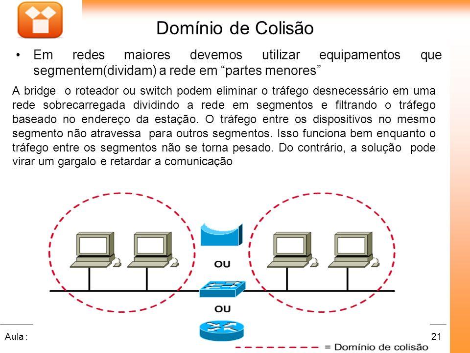 Domínio de Colisão Em redes maiores devemos utilizar equipamentos que segmentem(dividam) a rede em partes menores