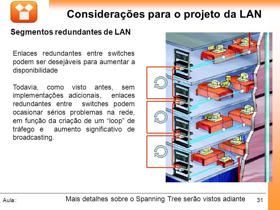 Considerações para o projeto da LAN