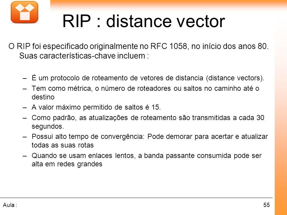 RIP : distance vectorO RIP foi especificado originalmente no RFC 1058, no início dos anos 80. Suas características-chave incluem :