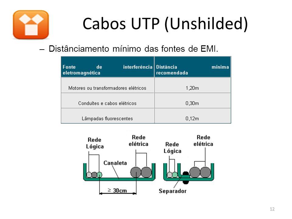 Cabos UTP (Unshilded) Distânciamento mínimo das fontes de EMI.