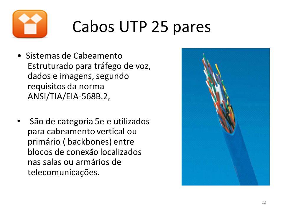 Cabos UTP 25 pares • Sistemas de Cabeamento Estruturado para tráfego de voz, dados e imagens, segundo requisitos da norma ANSI/TIA/EIA-568B.2,