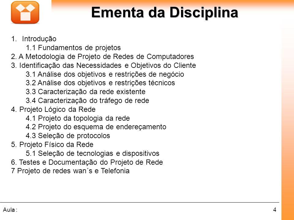 Ementa da Disciplina Introdução 1.1 Fundamentos de projetos