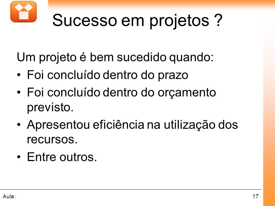 Sucesso em projetos Um projeto é bem sucedido quando: