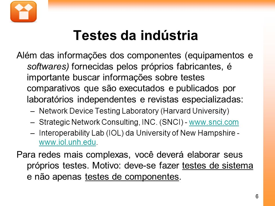 Testes da indústria