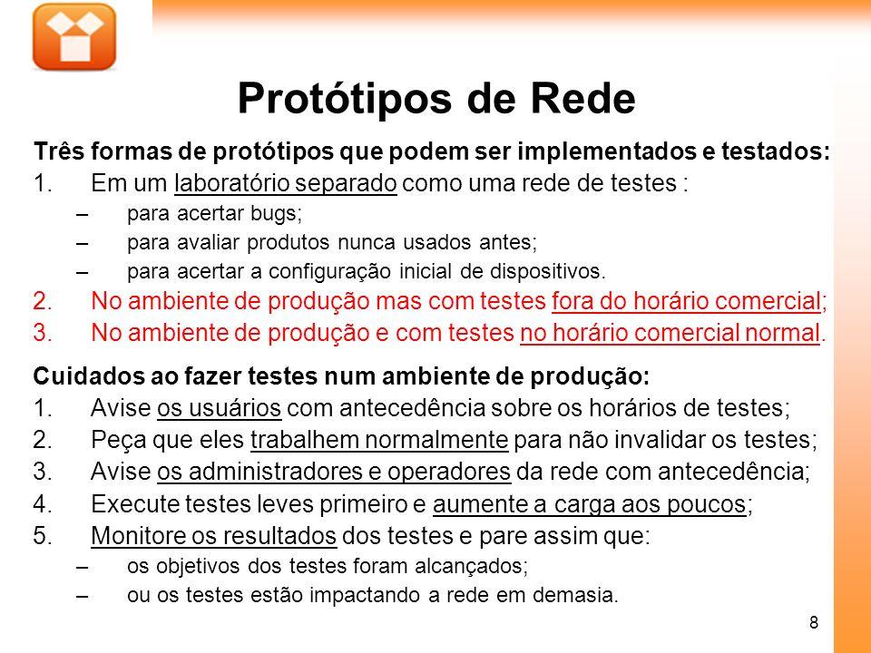 Protótipos de Rede Três formas de protótipos que podem ser implementados e testados: Em um laboratório separado como uma rede de testes :