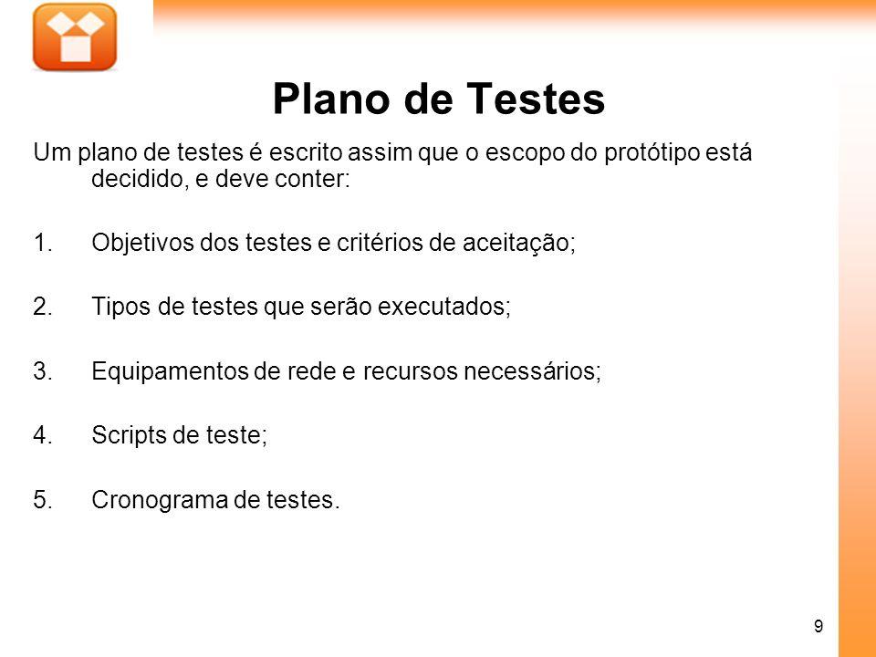Plano de Testes Um plano de testes é escrito assim que o escopo do protótipo está decidido, e deve conter: