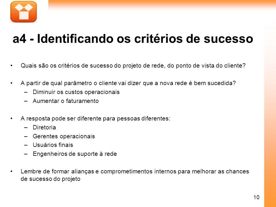 a4 - Identificando os critérios de sucesso