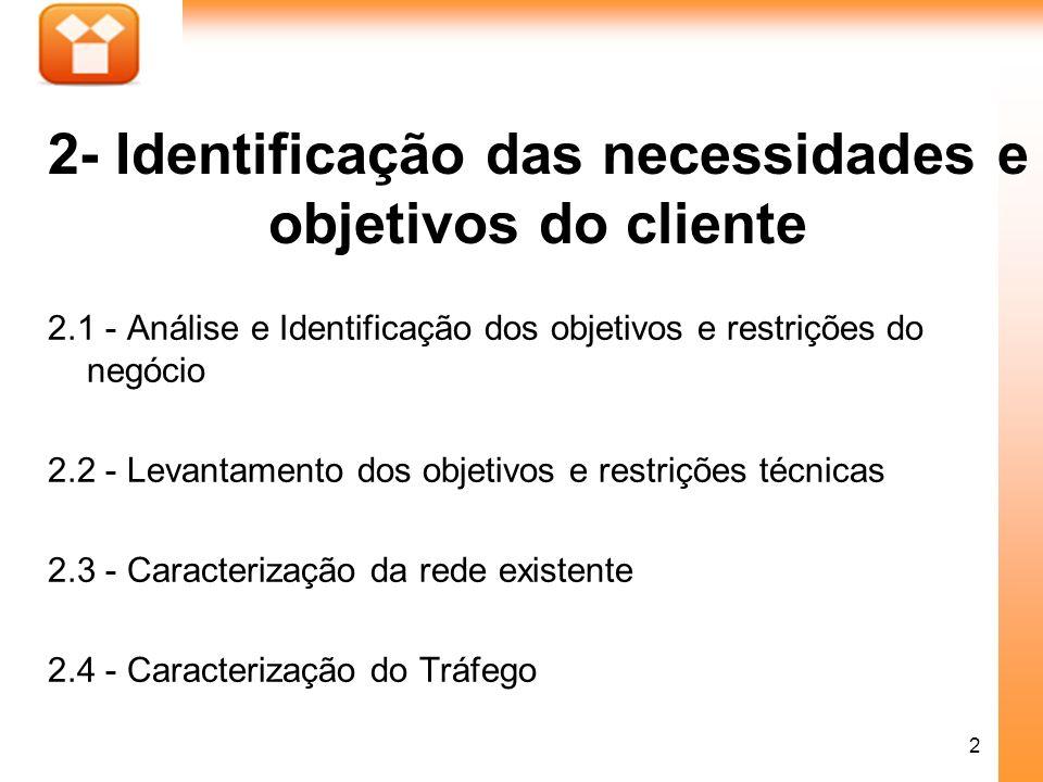 2- Identificação das necessidades e objetivos do cliente