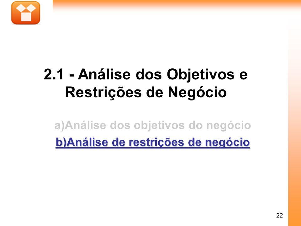 2.1 - Análise dos Objetivos e Restrições de Negócio