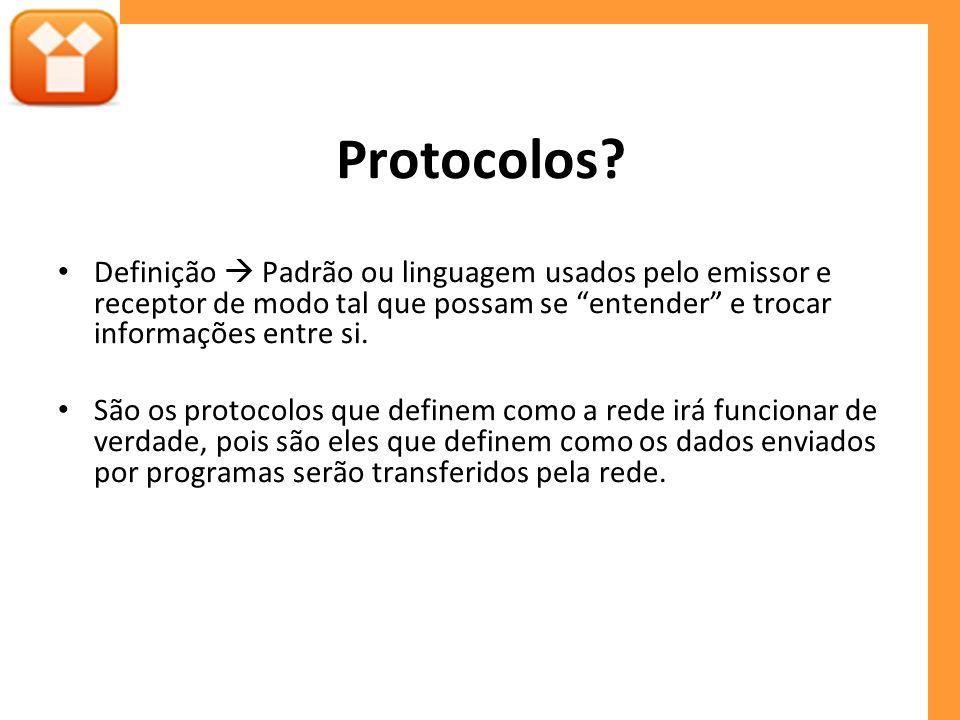 Protocolos Definição  Padrão ou linguagem usados pelo emissor e receptor de modo tal que possam se entender e trocar informações entre si.